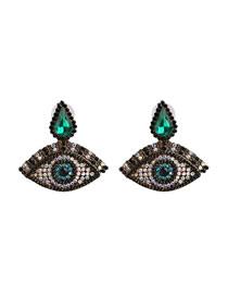 Fashion 5296 Green Eyes Water Drops With Diamond Eyes Earrings