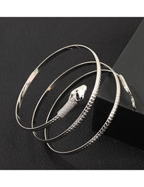 Fashion Silver Serpentine Embossed Bracelet
