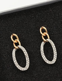 Fashion Golden Geometric Circle Diamond Earrings