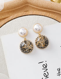 Fashion A Black Gold Foil Pearl Earrings