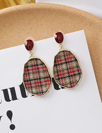 Fashion C Oval Plaid Cloth Geometric Earrings