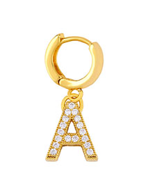 Fashion A Golden Diamond Letter Earrings