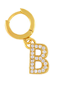 Fashion B Golden Diamond Letter Earrings