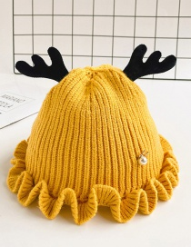 Fashion Yellow Children's Hat With Small Antlers