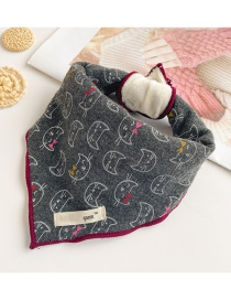 Fashion Black Gray Kitten Kitten Print Baby Scarf With Triangle