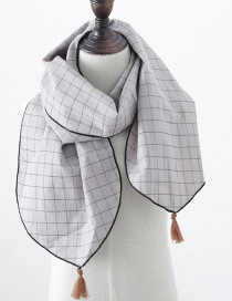 Fashion Light Grey Checked Fringed Children's Scarf