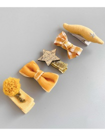 Fashion Turmeric Beard Set Of 5 Star Bow Children's Hair Clip Set
