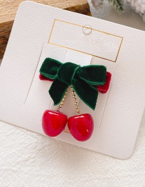 Fashion 15 # Green Cherry Hair Clip Cherry Bow Child Hairpin