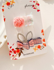 Fashion Orange Pink Rhinestone Rabbit Ears Bow Child Hairpin