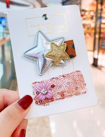 Fashion Silver (wafer) Sequin Flowers Stars Children's Hair Clip