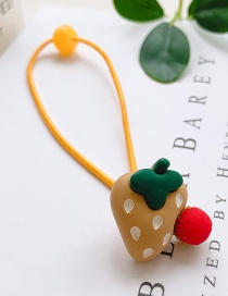 Fashion Light Yellow Strawberry-pull Rope Strawberry Hit Color Children's Hair Rope