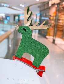 Fashion Green Fawn Christmas Elk Child Hair Clip