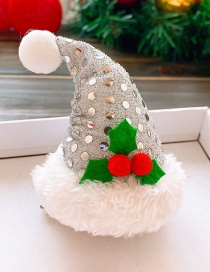 Fashion Silver Christmas Hat-plush Edge Christmas Hat Sequined Raw Hair Clip For Children