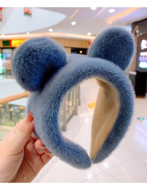 Fashion Blue Kitten Ears Plush Children's Hair Hoop