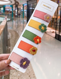 Fashion Flower # 5piece Set Flower Hit Color Children Hair Clip Set