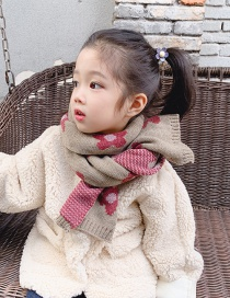 Fashion Dark Khaki (model) Contrast Flower Children's Scarf