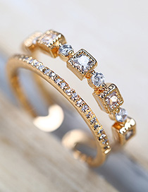 Fashion Golden Zircon Square Diamond Two-slit Open Ring