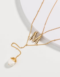 Fashion Pearl Irregular Pearl Letter Multilayer Necklace