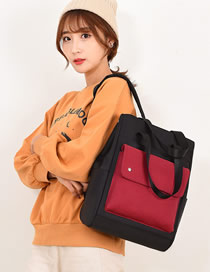 Fashion Black Stitched Contrast Backpack