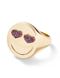 Fashion Golden Smiley Love Heart Ring With Diamonds