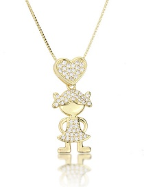 Fashion Golden Love Girl Necklace With Diamonds