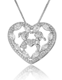 Fashion Platinum-plated Hollow Doll Heart Necklace With Diamonds