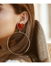 Fashion Red Dripping Love Large Circle Earrings