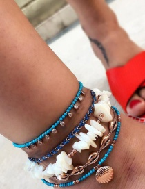 Fashion White Woven Resin Shell Scallop Anklet Set