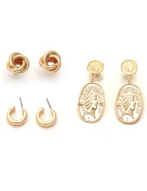 Fashion Golden Three-dimensional Portrait Flower C-shaped Earring Set