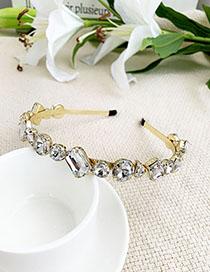 Fashion White Alloy Diamond Beveled Headband