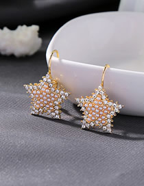 Fashion Golden Pearl Star Earrings With Diamonds