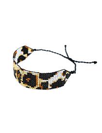 Fashion Black Rice Beads Woven Leopard Bracelet