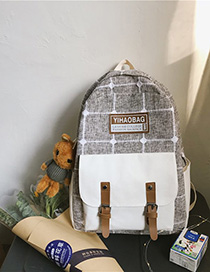 Fashion Brown Checkered Belt Buckle Backpack