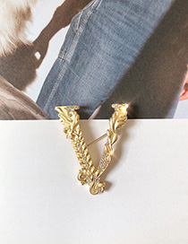 Fashion Golden Brooch With Diamond Relief