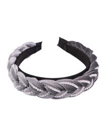 Fashion Gray Pearl Braided Corduroy Headband