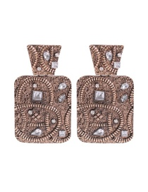 Fashion White Diamond Embossed Square Earrings With Diamonds