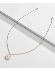 Fashion White Alloy Drip Oil Round Love Necklace