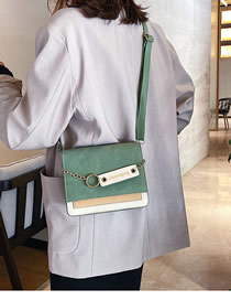Fashion Green Frosted Stitched Chain Shoulder Bag