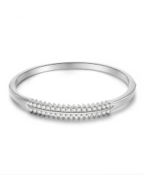 Fashion Silver Alloy Double Row Bangle With Diamonds