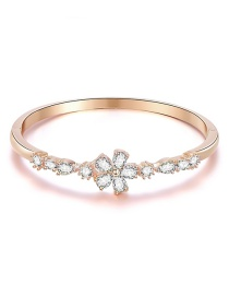 Fashion Rose Gold Geometric Bangle With Flower Drops In Diamonds