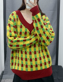 Fashion Color V-neck Check Stitching Sweater
