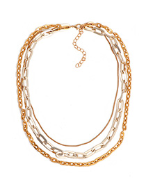 Fashion Golden Multi-layered Chain Contrast Necklace