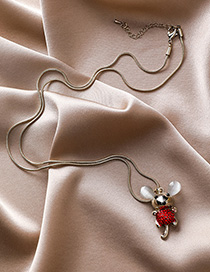 Fashion Red Diamond Mouse Necklace