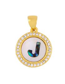 Fashion Golden J Alphabet Round Shell Diamond Necklace