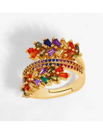 Fashion Color Three-layer Open Ring With Diamonds And Olive Branch