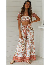 Fashion Suits On White Flower Print Square Tie Belt Tops Pants Two-piece