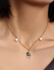 Fashion Golden Pearl Symmetrical Christmas Bell Dripping Oil Necklace