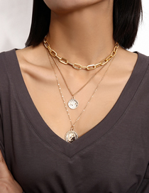 Fashion Golden Patterned Rough Chain Embossed Portrait Tag Necklace