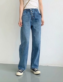 Fashion Blue Washed Button Down Jeans