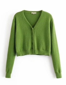 Fashion Green Knit V-neck Single-breasted Sweater